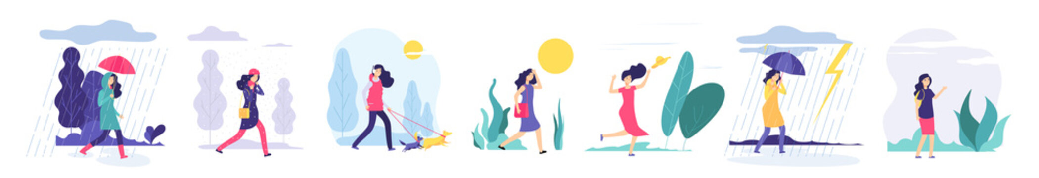 Woman various weather. Girl walking outdoors in different clothes snowfall cloudy wind heat rain with umbrella cold season vector set. Illustration of weather wind and sun, girl in jacket walk in rain