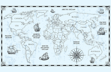 Fototapete - Vector antique world map with countries boundaries and ships. Illustration of geography world map, adventure geographical
