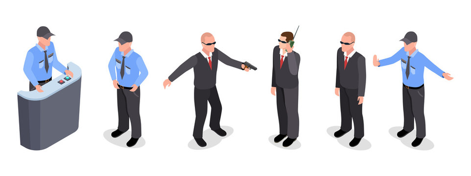 Vector isometric set of guards, police officers, agents isolated on white background. Illustration of guard and agent, police officer