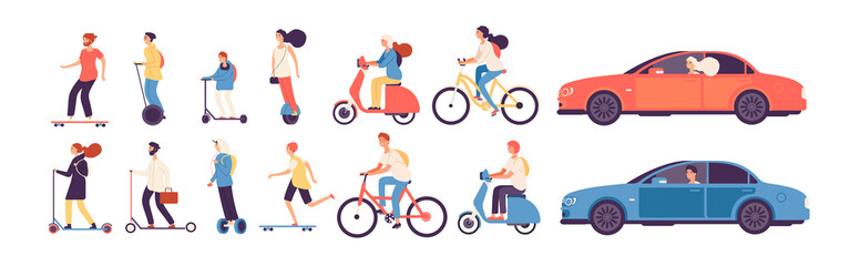 Poster de jardin Cartoon voitures People riding. Man woman with electric vehicles ride motorbike skateboard scooter skate car bicycle roller gyroscooter vector set. Electric car and bicycle riding, vehicle and motorbike illustration