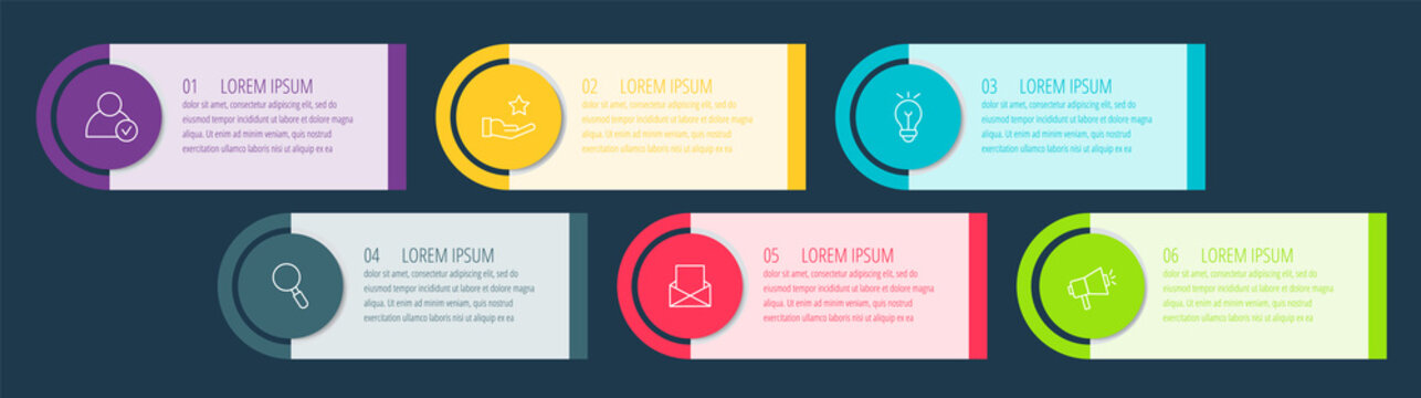 Vector infographic flat template circles for six label, diagram, graph, presentation. Business concept with 6 options. For content, flowchart, steps, timeline, workflow, marketing. EPS10