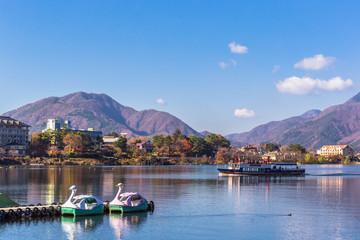 Tuinposter Scandinavië Beautiful landscape around lake kawaguchiko in autumn season at Yamanashi, Japan.