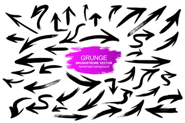 Large collection of grunge arrows. Vector background isolated on white background. Paint and ink strokes for your design. Freehand drawing. dirty strokes.