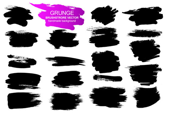 Large collection of grunge elements. Vector background isolated on white background. Paint and ink strokes for your design. Freehand drawing. dirty strokes.