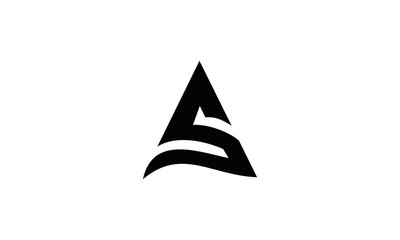 Triangle A or S letter logo