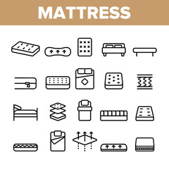 Mattress Types And Material Vector Linear Icons Set. Orthopedic And Antiallergic Comfortable Mattress Outline Symbols Pack. Bio And Organic Breathable Bedding Isolated Contour Illustration