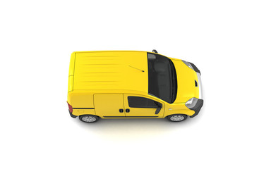 Isometric projection of yellow blank delivery cargo van isolated on white background. Top view. Right side. High angle.