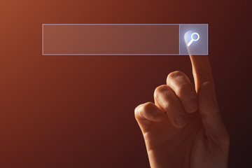 Internet search concept, finger clicking virtual screen