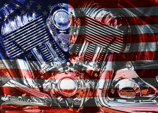 Close up motor of a motorcycle with an American flag