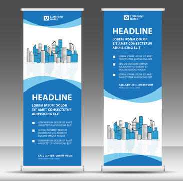 Roll up banner template, stand design, Pull up, display, advertisement, business flyer, poster, presentation, corporate, web banner layout, modern creative concept, city vector