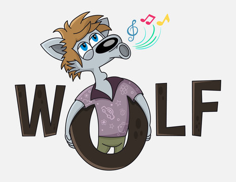 Funny wolf cartoon character sings. Karaoke club vector logo design.  Advertising for karaoke, party, disco bar, club, live music or other children event.