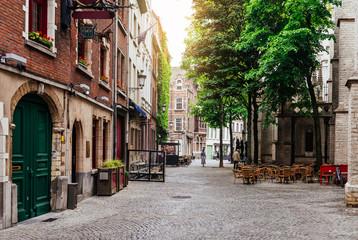 Printed roller blinds Antwerp Old street of the historic city center of Antwerpen (Antwerp), Belgium. Cozy cityscape of Antwerp. Architecture and landmark of Antwerpen