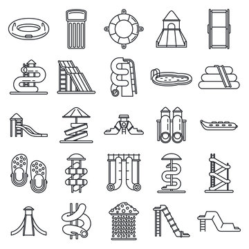 Waterpark icons set. Outline set of waterpark vector icons for web design isolated on white background