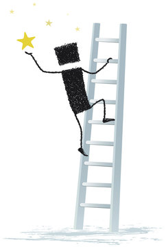 Achieving a dream, isolated on white background. A person climbs a ladder to catch a star.