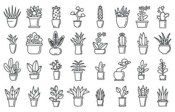 Houseplants flower icons set. Outline set of houseplants flower vector icons for web design isolated on white background