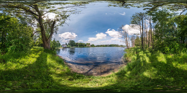 full seamless spherical hdri panorama 360 degrees angle view on precipice of wide river in deciduous forest in sunny summer day in equirectangular projection, ready for AR VR virtual reality content