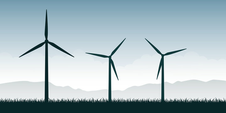 windmills silhouette on green nature landscape wind power energy vector illustration EPS10