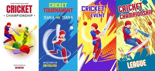 Cricket banner set. Cartoon illustration of cricket vector banner set for web design