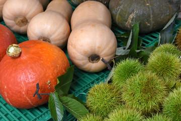 Wochenmarkt, Herbst, Gemüse, Esskastanien