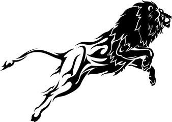 Leaping Lion, Abstract Flame Lower Body
