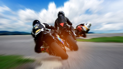 Motin blur with grain. Motorcycle on the highway. Abstract speed racing background Fototapete