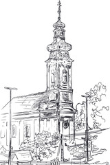 Sketch of the Serbian Orthodox Church in Hungary
