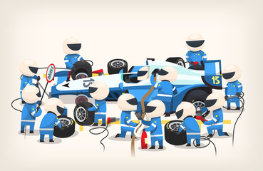 Colorful image with pit stop workers and engineers wearing blue uniform maintaining technical service for a racing car during competition event. Vector illustration Wall mural