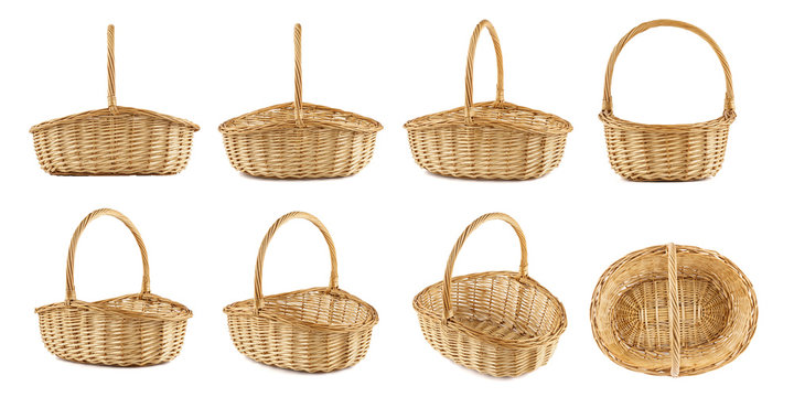 Set of wicker picnic baskets shot from different angles.
