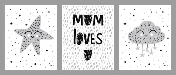 Kids vector print in Scandinavian style,  cute star and cloud, childish lettering Mom loves you.Vector illustrations for invitations, greeting cards, posters
