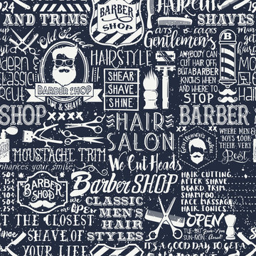 Barber shop elements and icons patchwork abstract vintage vector seamless pattern