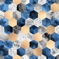 Seamless abstract geometric pattern with gold foil, gray marble and deep blue watercolor hexagons