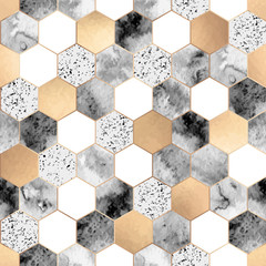 Seamless abstract geometric pattern with gold foil, gray marble and watercolor hexagons