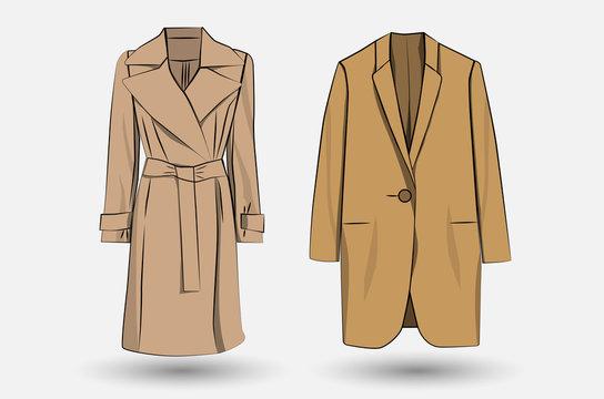 Set of colored women's coats