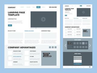Landing page template. Website layout design elements footer header menu navigation wireframe for internet pages vector ui landing. Wireframe site and navigation page interface menu illustration