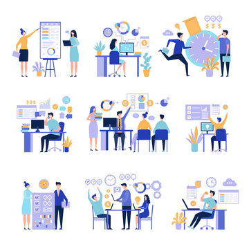 Effective management. Organizing work processes with tasks on project board activities business people vector concept. Illustration of business effective working organization, development partnership
