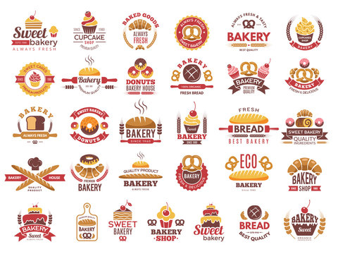 Colored bakery labels. Vintage food logos with cooking pastry symbols vector collection. Illustration of bakery food logo, emblem and label cake
