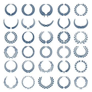 Greek wreath. Award round heraldic symbols graphic branch vector illustrations. Branch heraldic award, greek wreath victory