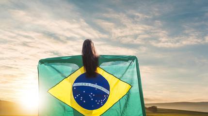 Woman with brazilian flag, female football Fototapete