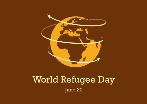 World Refugee Day vector. World Planet Earth with Arrows vector. Stylized Planet Earth vector illustration. Important day