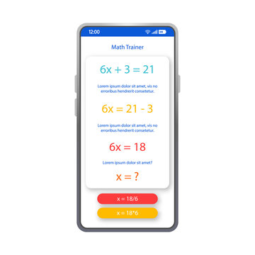 Math trainer app smartphone interface vector template