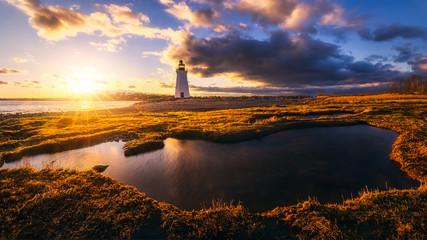 Photo sur Plexiglas Marron chocolat sunset by black rock Lighthouse