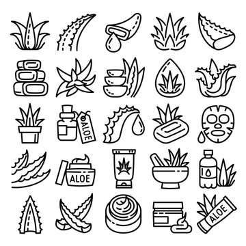 Aloe icons set. Outline set of aloe vector icons for web design isolated on white background