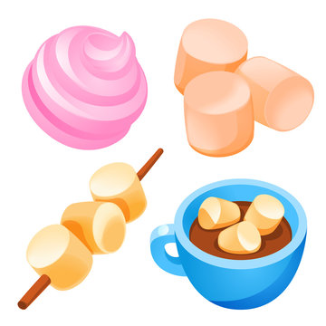 Marshmallow icons set. Cartoon set of marshmallow vector icons for web design