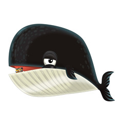 cartoon happy and funny sea whale - illustration for children