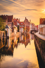 Photo sur Aluminium Bruges Historic city of Brugge at sunrise, Flanders, Belgium