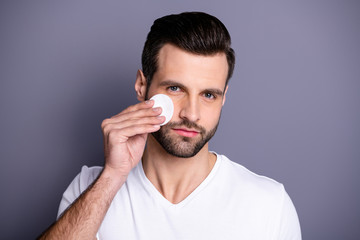 Close up photo amazing he him his macho hairdo after barber shop stylist visit clean facial perfect ideal skin moisturizer look mirror bath shower wear casual white t-shirt isolated grey background