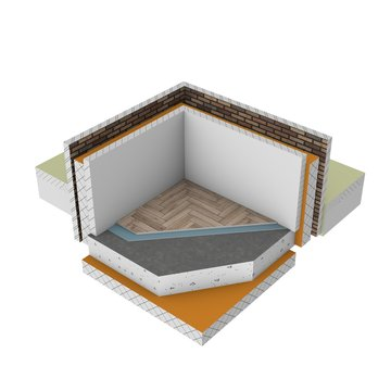 Graphic illustration - 3d render of insulation solution in a wall and floor