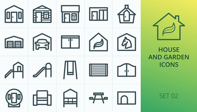 Garden buildings icons set. Set of log cabin, summerhouse, garden room, garden office, arbour, rattan furniture, playhouse, fence panel, storage shed, greenhouse isolated vector icons