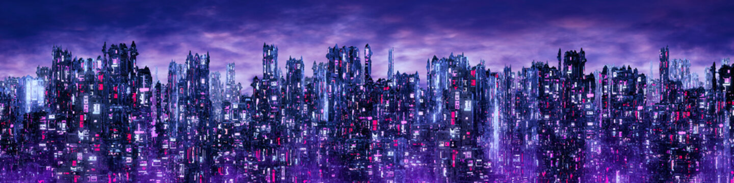 Science fiction neon city night panorama / 3D illustration of dark futuristic sci-fi city lit with blight neon lights