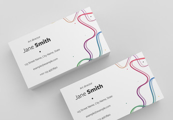 Business Card Layout with Colored Lines and Dots